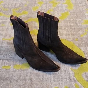 Dark brown chelsea boots by Donald J Pliner